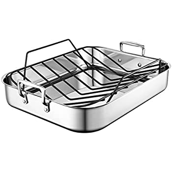 Le Creuset Ssc8612 40p Stainless Steel Large Roasting Pan With Nonstick Rack 16 25 X 13