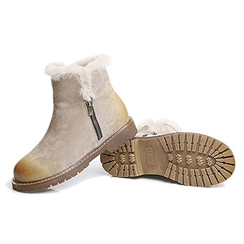 Side Boots with Women's Ankle Khaki Snow Cuff Foldable Zipper nWxUYR