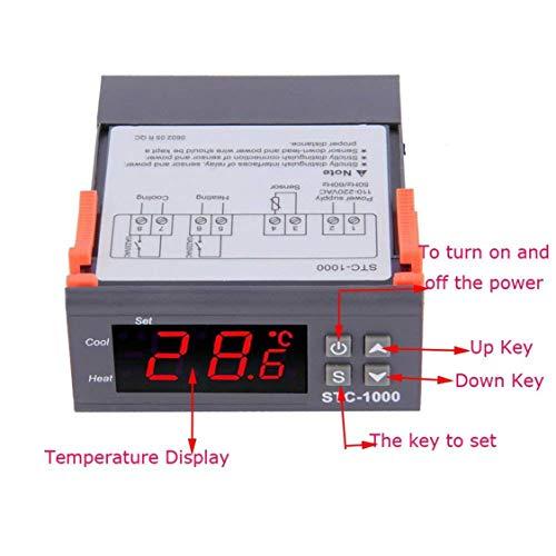 vige Controlador de Temperatura de Uso múltiple Digital Profesional STC-1000 Termostato Acuario con Cable de sonda de Sensor - Gris: Amazon.es: Hogar