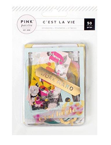 American Crafts Pink Paislee C'est La Vie Ephemera