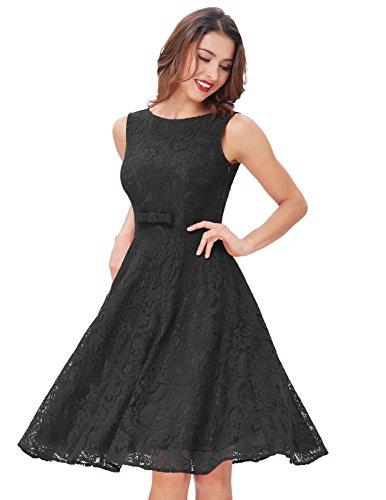 Cocktail Belle Vintage Dress Swing Lace Black Floral Party 50s Sleeveless Women's Poque t0gTnxU0r