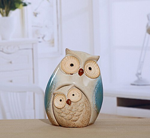 WOMHOPE Set of 2 - Wise Owls Statues House Warming Gift Combined Figurine Statues Tabletop Shelf Ceramic Ornaments Home Decorative Collectible Figurine Statues (Blue (Set of 2))