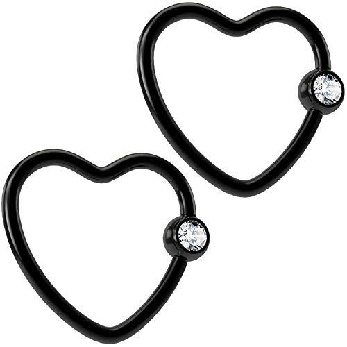 Bling Piercing 2pc 16g Black Heart Captive Bead Ring Jeweled 16 Gauge Gem Beads Hoop Earrings Rings Cubic - Ring Jeweled Captive