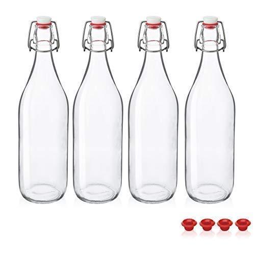 Kware - Swing Top Glass Bottle 33.75 oz Gasket Seal Airtight, Giara Glass Bottle with Stopper Caps - Airtight for Oil, Vinegar, Beverages, Liquor Kombucha- Clear (4)