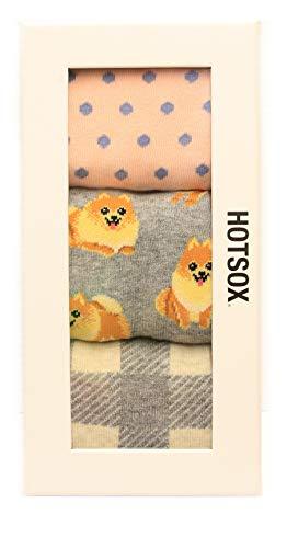 Hotsox Women's Crew Pomeranian Gift Box Socks 3 Pair, Assorted, Women's Shoe -