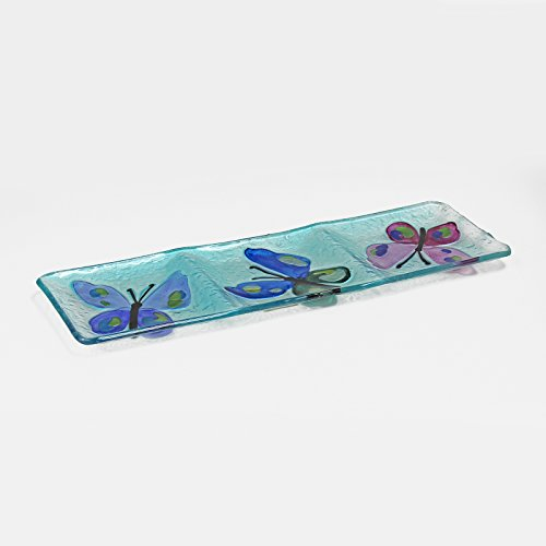 WELLAND Hand Painted Glass Dish with 3 Sections, Butterfly Pattern, 15 x 5 Inches, -