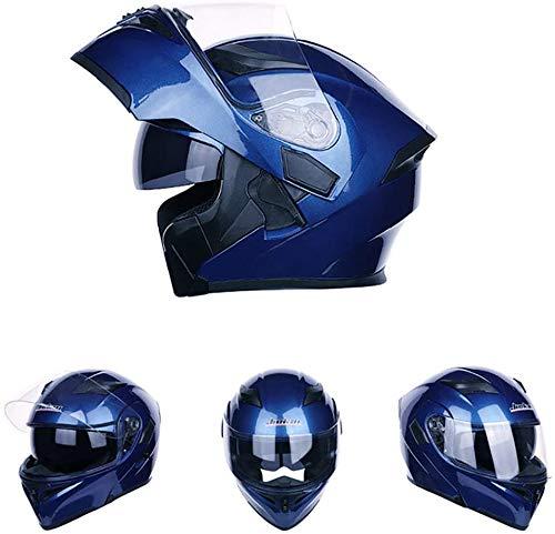 오토바이의 풀 페이스 flip 업 모듈러 헬멧,남성과 여성용의 듀얼 바이저 부착 모토크로스 헬멧,ECE/DOT인정 (옵션 : 블루, 레드 , 옐로우)