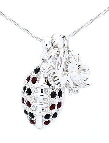 South Carolina Football Necklace - Garnet and Black Crystal - GAMECOCKS