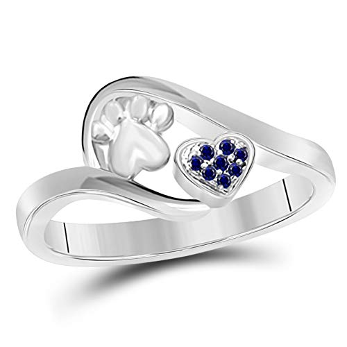 Sapphire Dog Ring - Gems and Jewels Valentine Gift Round Cut Blue Sapphire 14k White Gold Plated Alloy Accent Paw Dog Print with Lovely Heart Ring for Women