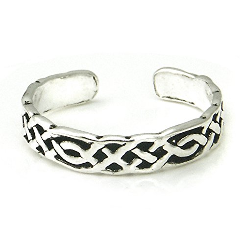 Metal Factory Sterling Silver Antique Celtic Knot Adjustable Toe Band Ring