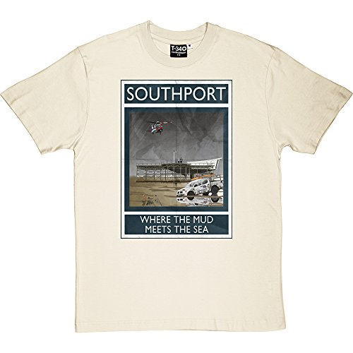 (Southport: Where The Mud Meets The Sea Linen/Natural Men's T-Shirts)