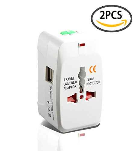 2 Pack Universal Travel Adapter AC Power All in One Universal Plug Adapter Power Plug Adapter Wall Adapter Adaptor Charger Multi-Socket Outlet, White (With USB Port)
