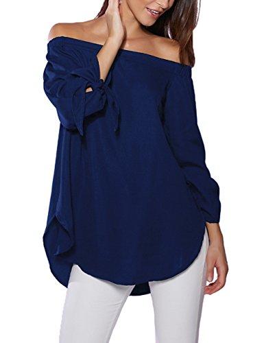 Just Quella Women's Off Shoulder Loose Shirt Blouse 8422 (XL, Navy Blue)