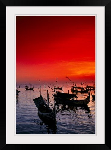 greatBIGcanvas Indonesia, Bali, Jimbaran Bay with Many Fishing Boats Anchored by Richard Maschmeyer Photographic Print with Black Frame, 20'' x 30'' by greatBIGcanvas