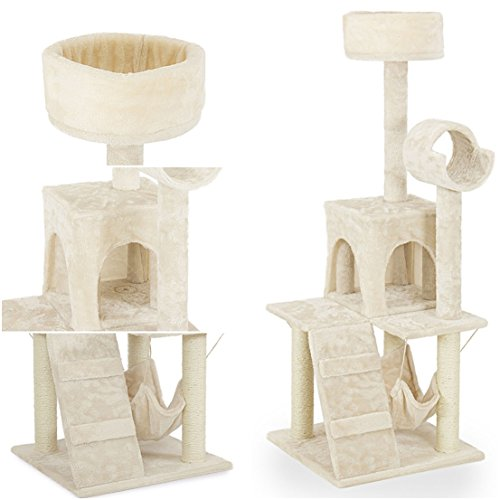 Apogee Popular 52'' Cat Tree Furniture Scratching Posts Kitten House Condo Perches Color Beige with Hammock by GVGs Shop