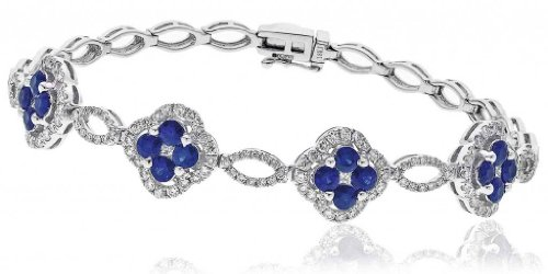 2.85CT Certified G/VS2 Four Stone Blue Sapphire Centre Club Shape with Round Brilliant Cut Halo Diamond Tennis Bracelet in 18K White Gold