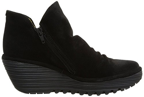 Womens london Fly Yip Boots Black Ankle Suede Wedge rTdrAUx