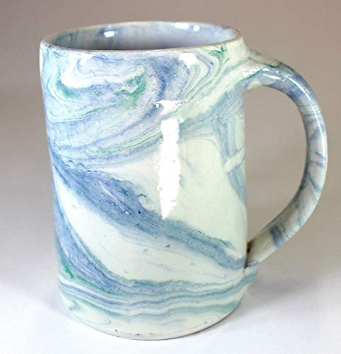Blue and Green Marbled Earthenware Tankard by Marbled Pottery