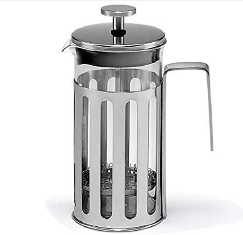フレンチプレスポット ガラスプレスポットステンレスフィルタープレスコーヒーポットフレンチフィルタープレス耐熱 フレンチプレスコーヒーメーカー (色 : Silver, Size : 350ml)