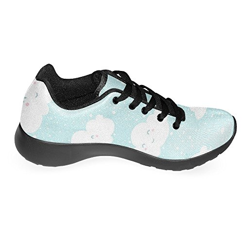 InterestPrint Womens Jogging Running Sneaker Lightweight Go Easy Walking Casual Comfort Sports Running Shoes Blue Sky Clouds With Funny Cartoon Faces and Snowfall Splash Multi 1 YGaucFNvA7