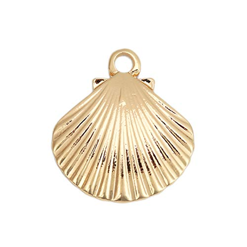 10 Count Gold Scallop Seashell Pendants or Charms About 1 Inch Beach Charm