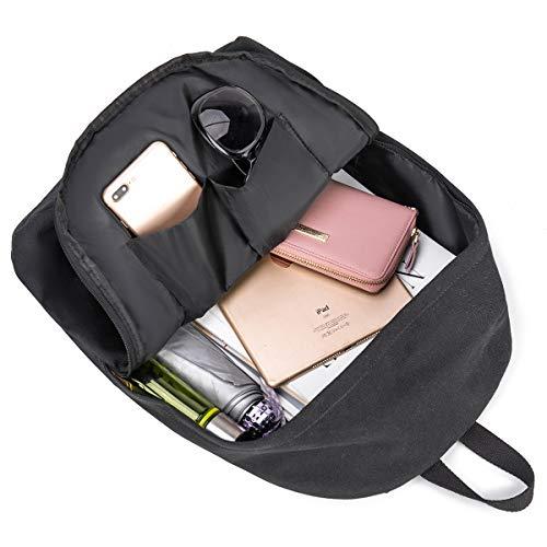 Canvas School Laptop Backpack, Durable Rucksack, Travel Notebook Bag, for Men Women Black