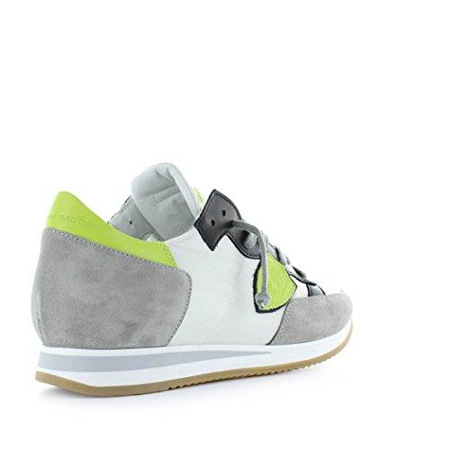 Philippe Model Scarpe da Uomo Sneaker Tropez Mondial Bianco Lime Primavera Estate 2018