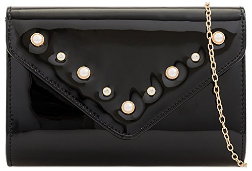 Designer Leather Bag Black Evening Bubble Patent Bag Bridal Clutch Envelope Ladies ftqwZ0HdZ