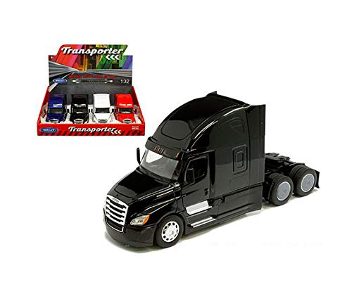 New DIECAST Toys CAR Welly 1:32 Display Tray - Transporter - Freightliner Cascadia CAB (Black, Blue, RED, White) 1 Item Random Color 32695-4D from New Welly