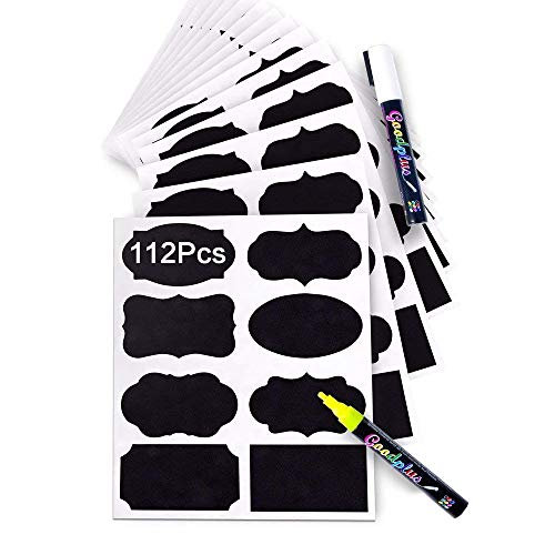 CHALKBOARD LABELS 112 Pack, Pantry and Storage Stickers for Jars: Mason, Spice, Glass, Cups, Bottles, Containers, Canisters, Large Decorative Reusable Waterproof Blackboard Vinyl Set w/ 2 - Black Stickers Chalkboard