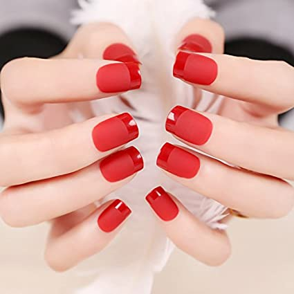 24pcs de uñas postizas negro French Manicure), monocolor
