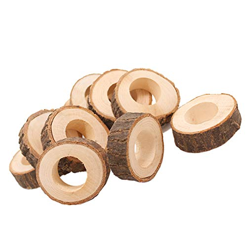 BESTONZON 8pcs Circle Wood Pendants Creative Natural Unfinished Wooden Napkin Ring for Hotel Wedding Table DIY Projects and Craft Making ()
