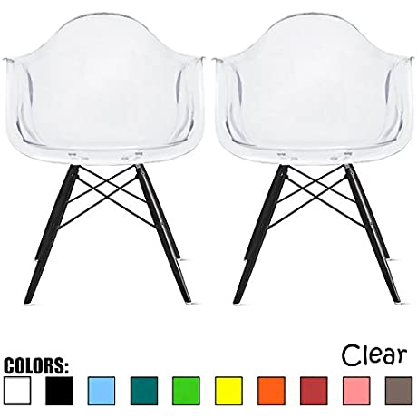 2xhome Eames Style Armchair Set Of 2 Clear Black Legs