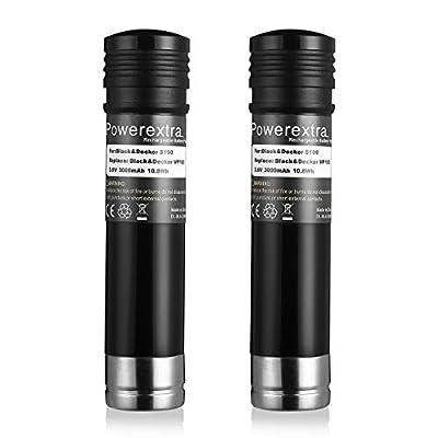 Powerextra 2 Pack 3.6V 3000mAh Ni-MH Replacement Battery for Black & Decker Versapak VP100, VP100C, VP105, VP105C, VP110, VP110C, VP143,Sears-Craftsman Pivot180 PLR36NC (3.6v)