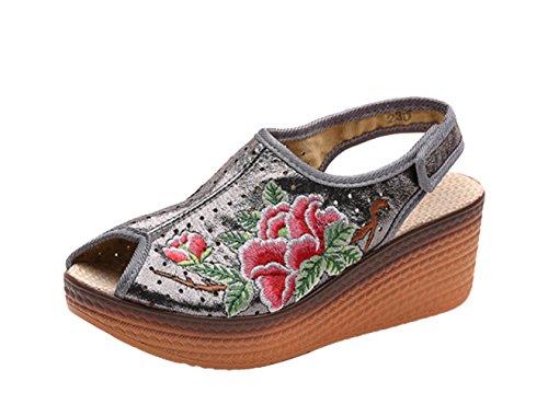 Avacostume Femmes Broderie Cuir Artificiel Coin Pantoufle Chaussures Argent