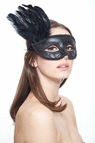 [Carmen Twilight Masquerade Mask (Unisex One Size; Black)] (Black Toga Dress)