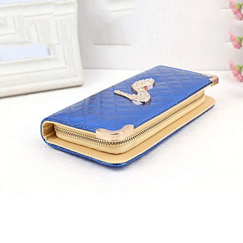 Sandalias Largo De Patrón color Blue Auming Alto Cuero Mujer Cremallera Cartera Pink Embrague Monedero Elegante Dama Tacón pOq0Agxw