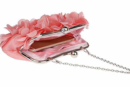 Puluo Soft Clutch Bag Party Women Evening Petals Handbags Pink Bag Apricot Purses for Satin for and Prom Wedding C1ptwqd