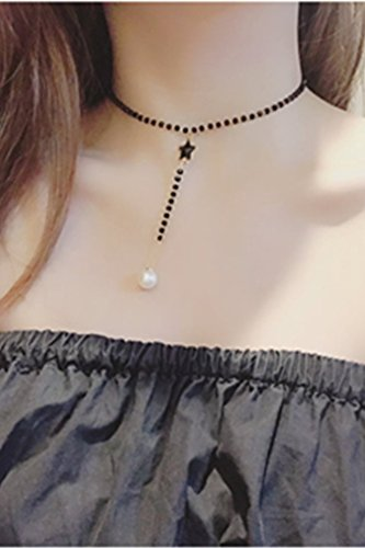 Light Sweet Elegant Luxury Five-Pointed Star Crystal Tassel Necklace Pendant Creative Women Girls Short Clavicle Chain Jewelry