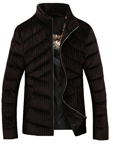 Men Collar Cloth Stand Zipper Coat Stripe Jacket coffee l Casual Down EKU RCqFwBC