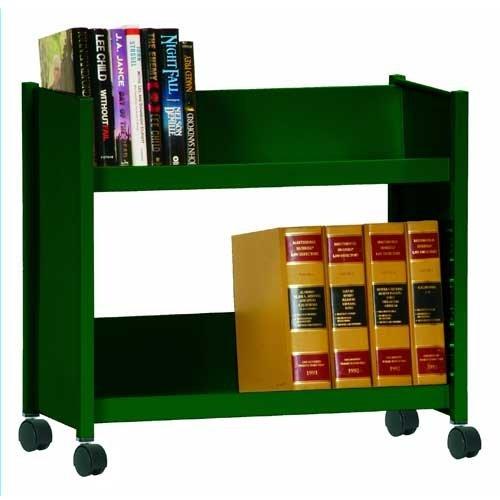 Sandusky Lee SR227-08 Sloped Shelf Welded Bookcase, 14'' Length, 29'' Width, 25'' Height, 2 Shelves, Forest Green by Sandusky