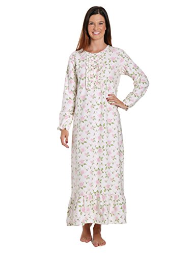 Long Flannel Nightgown (Women's Premium Flannel Long Gown - Gardenia Cream-Pink - Medium)