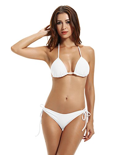 zeraca Women's Tie Side Bottom Triangle Bikini Swimsuits (L14, White)