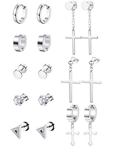Thunaraz Stainless Steel Cross Dangle Hinged Hoop Earrings for Men Women Huggie Drop Earrings 8 Pairs