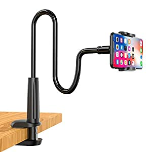 Enllonish Cell Phone Holder, Universal Phone Stand Clip Lazy Bracket Flexible Gooseneck Clamp Long Arms Mount for iPhone 11 Pro Xs Max XR X 8 7 6 6s Plus, Samsung S10 S9 S8 S7 S6 (Black)