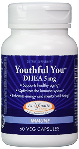 Enzymatic Therapy – Youthful You DHEA 5 mg. – 60 Vegetarian Capsules For Sale