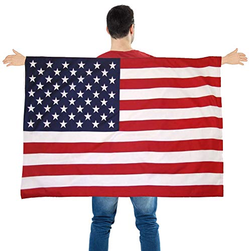 FuturePlusX American Flag Cape, Wearable USA Flag Costume Outfit with Sleeves Classic Flag, 2 Differents Wearing Methods