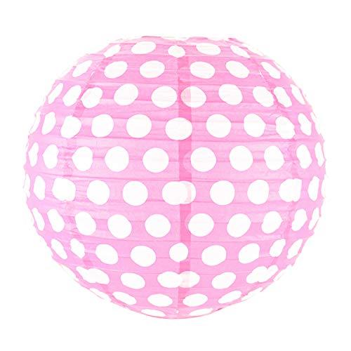 Funcart Polka Dot 12 Inches Paper Lantern   Baby Pink