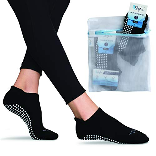 Skyba Non Slip Socks for Women - Barre, Pilates, Yoga, Hospital [Medium] Black - 2 Pairs (Best Shoes For Barre Class)