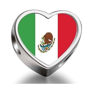 Mexico Flag Heart Photo charm beads fit pandora bracelets